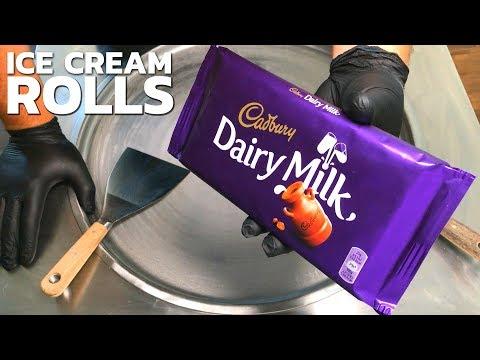 Ice Cream Rolls   Cadbury – Dairy Milk Chocolate Ice Cream / fried Thailand rolled ice cream roll