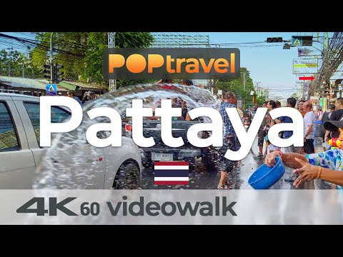 Walking in PATTAYA / Thailand all the contrivance through Songkran – 4K 60fps (UHD)