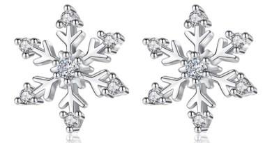Anenjery Zircon Snowflake Stud Earrings For Women 925 Sterling Silver Earrings boucle d'oreille oorbellen S-E582