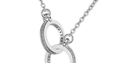 Anenjery 925 Sterling Silver Double Circle CZ Zirconia Necklaces & Pendants For Women Gift kolye choker collares bijoux S-N61