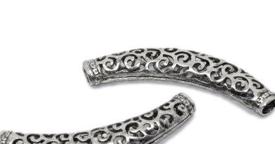 DoreenBeads Zinc Based Alloy Spacer Beads Tube Carved Pattern Antique Silver Color 64mm x 13mm, Hole: Approx 5.5mm x 4.7mm, 1 PC