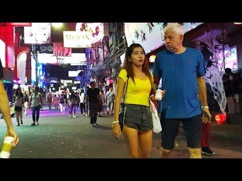 Walking Avenue Pattaya Thailand at Night Time