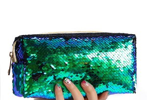 Cosmetic Bags Glitter Cosmetic Bags Double Color Sequins Handbag Cosmetic Bag Make Up Pouch Women Mermaid Party Clutch Bags