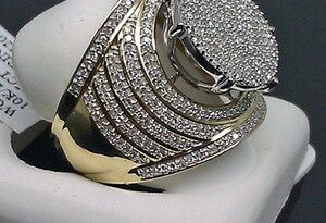 Luxury Brand Round Rings Gold Color Micro Pave Full Bling Bling Ring Hip Hop Men Jewelry H5M057
