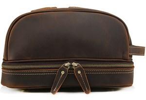 Cosmetic Bags Genuine Leather Men Travel Organizer Cow Leather Cosmetic Bag for make up bag Brand Man beautycase Makeup Bags
