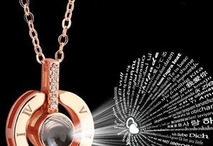 Alloy Love Pendant 100 Languages I Love You Shaking Sounds with Projection Clavicle Chain Sweater Necklace