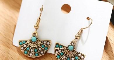 Ethnic Vintage Earrings For Women Fashion Simple Geometric Semicircular Fan Shape Bead Earrings