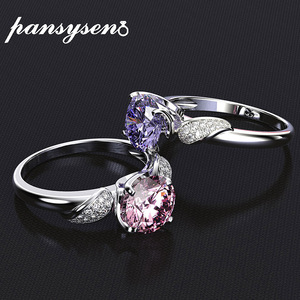 PANSYSEN Pure 925 Sterling Silver Jewelry Wedding Engagement Rings For Women Top Quality Luxury 8x8mm Gemstone Ring Size 6-9