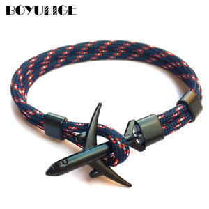 2019 New Boeing Airplane Men Anchor Bracelet Rope Chain Black Charm Bracelets For Women Male Survival Aviation Style Sport Hooks