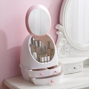 Cosmetic Storage Box Drawer Makeup Organizer Portable Bathroom Dressing Table Cosmetic Storage Display Box Case With Mirror