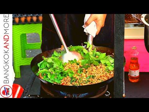 BANGKOK Toll road Food Breakfast – PAD KRA PAO Basil Chicken Rice THAILAND