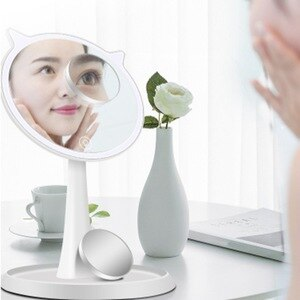 Cosmetic Mirror with Lamp Press Screen Switch, 90-Degree Rotation, Portable Cosmetic Lighting Mirror, LED Cosmetic Mirror 10X Ma