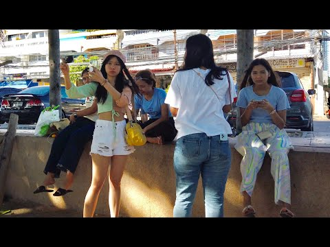 A Busy Day At Jomtien Beach, Pattaya in Thailand After Lockdown
