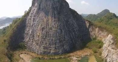 Buddha Mountain (Khao Chi Chan, arrive Pattaya) and Silverlake considered from a Drone (Uncut) HD