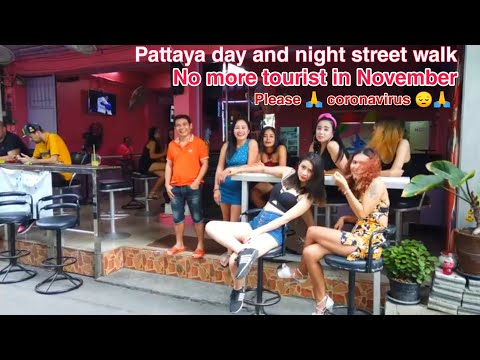 Thailand Pattaya All the best map by coronavirus  day and evening road slither November 2020