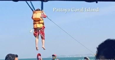 Parasailing in Coral island Pattaya sea slump Bangkok Thailand