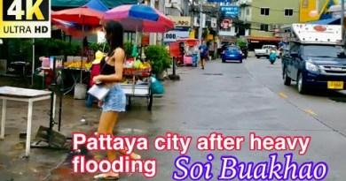 Pattaya Metropolis after heavy flooding, Soi Buakhao, Central Pattaya, North Pattaya seaside August 29,2021