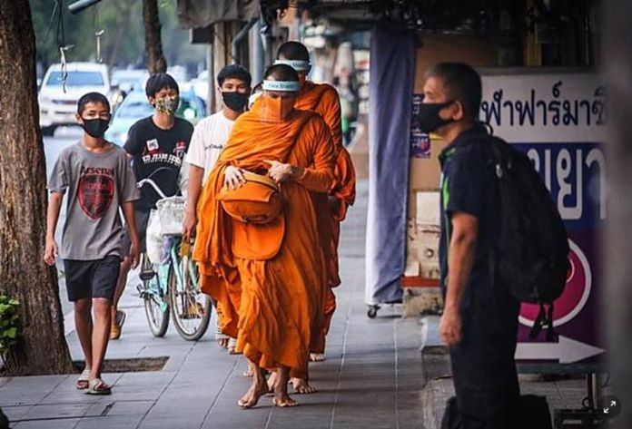 Monks are advised to wear a face mask and suitable protection every time they go out of the temples, keep the temples regularly sanitized, and must screen visitors for symptoms in and out.