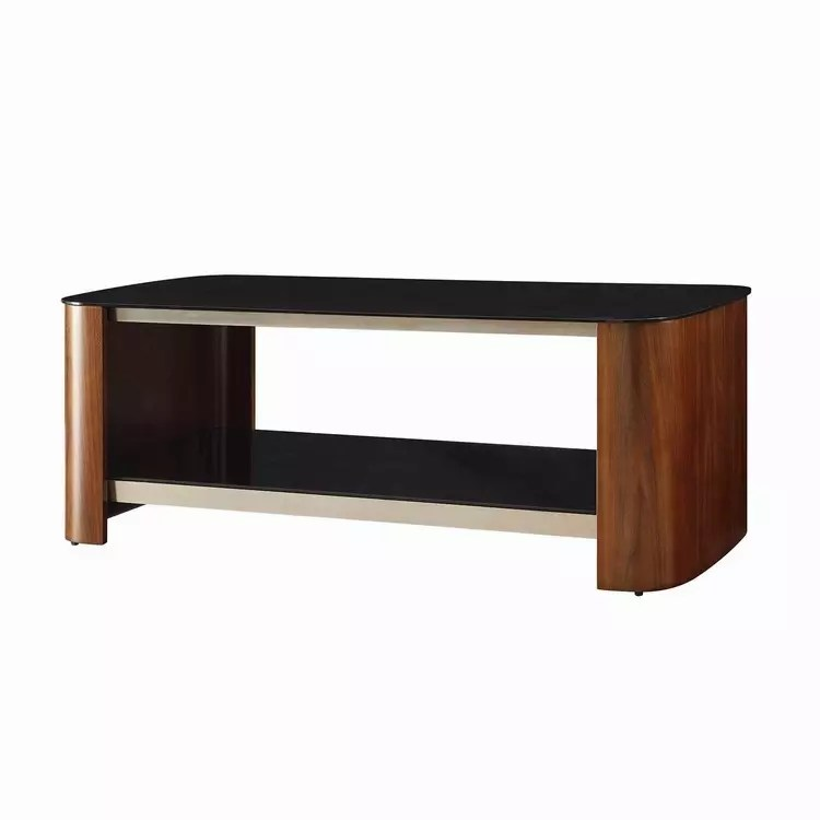 curved edge rectangular coffee table with black glass top shelf walnut veneer chrome detail