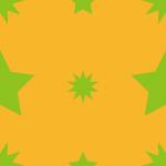 緑とオレンジの星をあしらったポップなパターン
