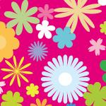 ピンクの背景にたくさんの花のイラストを散りばめたのシームレスパターン