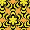 黒と黄色のミツバチを連想するような花柄パターン