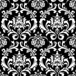 西洋風のモノクロ、ダマスク柄パターン