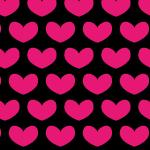 黒にピンクのハートが並ぶパターン