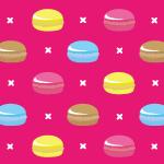 お菓子のマカロンを並べた可愛らしいパターン
