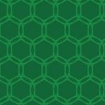亀の甲羅のような緑色ベースの六角形パターン