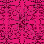 ピンクベースのアラベスク柄パターン