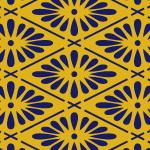 金と紺色の菊菱を使用した和柄パターン