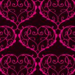 ハート型が連なるピンクと黒のアラベスクパターン