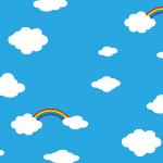 青い空と雲に虹がかかるパターン