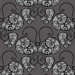 黒ベースの蝶のような西欧風アラベスクパターン