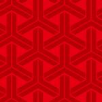 赤ベースの組亀甲 和柄パターン
