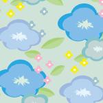 青い花のイラストを散りばめたパターン