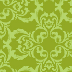 ナチュラルな緑配色の西欧柄ダマスクパターン