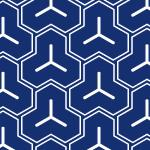 藍色の和柄、毘沙門亀甲背景パターン