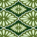 和的な緑色の菊菱柄パターン