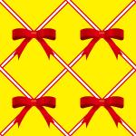 赤いリボンが交差するパターン