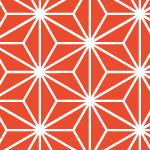 赤と白の麻の葉柄パターン