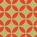 朱色と薄い緑色の七宝柄パターン