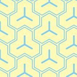 黄色と水色の毘沙門亀甲柄パターン