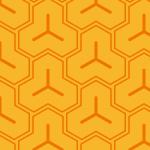 オレンジ色の毘沙門亀甲柄パターン