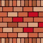 2種類の赤いレンガブロックイラストパターン