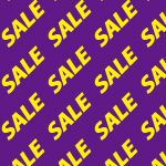 紫色の背景に黄色のSALEの文字が並ぶパターン