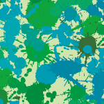 様々なグリーン系のインクが飛び散るパターン