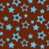 茶色背景に水色の様々な大きさの星が散らばるパターン