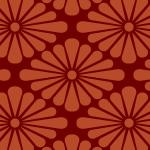 赤色の菊菱柄パターン
